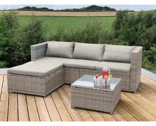 GSD Brown / Natural Victoria Rattan Garden Furniture Corner Sofa Lounge Chase Set - Modular 4 Piece In/Outdoor