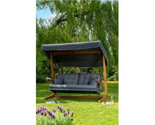 Newton 3 Seat Swing Hammock Bed Heavy Duty Garden Bench - Iroko Hardwood