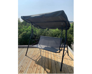 GSD 3 Seater Canopy Swing Chair Garden Rocking Bench Heavy Duty Patio Metal Seat w/Multi-Position Top Roof (Charcoal Grey)