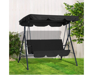 GSD 3 Seater Canopy Swing Chair Garden Rocking Bench Heavy Duty Patio Metal Seat w/Multi-Position Top Roof (Black)
