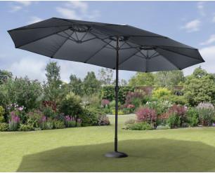 GSD 4.5m x 2.7m Double Garden Parasol with Hand Crank, Extra Large Rectangular Patio Umbrella - Charcoal
