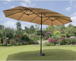 GSD 4.5m x 2.7m Double Garden Parasol with Hand Crank, Extra Large Rectangular Patio Umbrella - Taupe