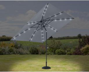 GSD 3m x 3m Square Crank & Tilt Parasol w/Solar Powered LED Lights - Grey