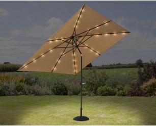 GSD 3m x 3m Square Crank & Tilt Parasol w/Solar Powered LED Lights - Taupe