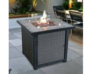 GSD Fire Pit Table Concrete Top Glass Screen