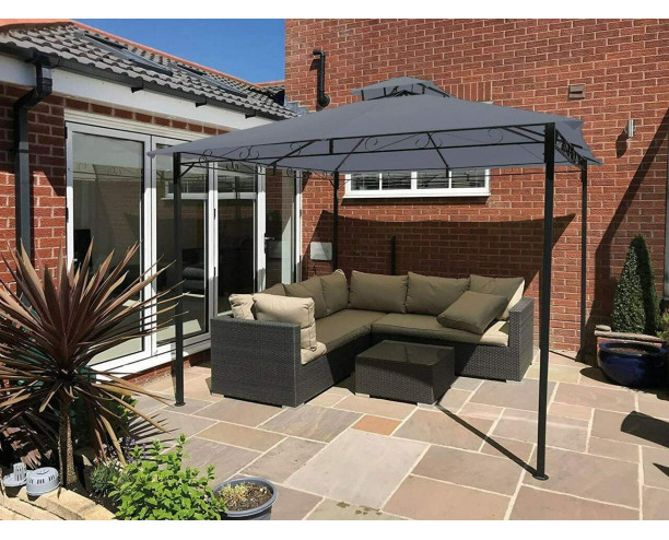 GSD Garden Gazebo Party Shelter Malaga Canopy 3m x 3m - Grey