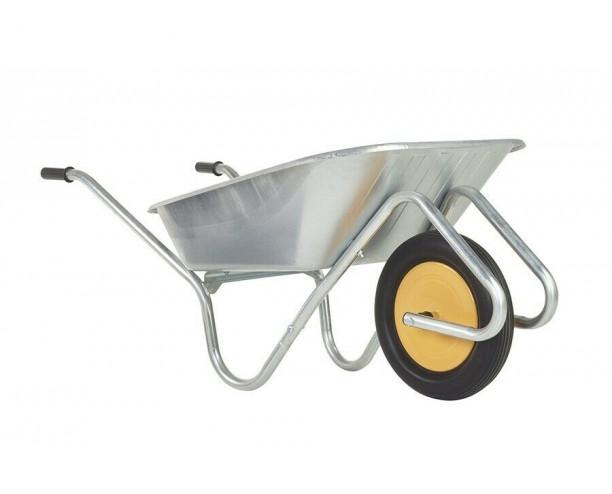 Haemmerlin Handibarrow Wheelbarrow 90Ltr Galvanised Puncture Free White Wheel