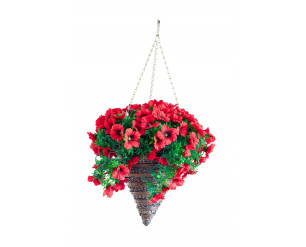 Artificial 12'' Red Petunia Hanging Basket