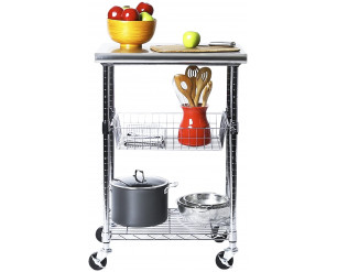 """Seville Classics Professional Chef's Table Top, 61cm W x 51cm D x 91cm H, Metal Chrome Plated, Stainless Steel, Silver, 24"""" 20"""" 36"""" H"""