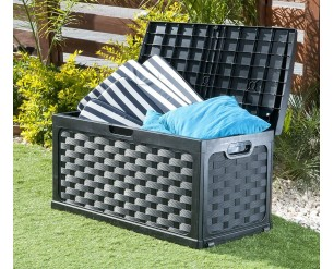 Small Rattan Garden Storage Box With Sit on Lid Black