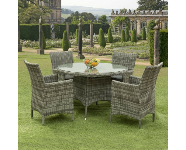 Sarasota Rattan Garden Dining Set - 4 Seater Grey