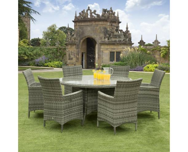 Sarasota Rattan Garden Dining Set - 6 Seater Round Grey