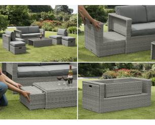 Sarasota Rattan Garden Set Hideaway - Grey