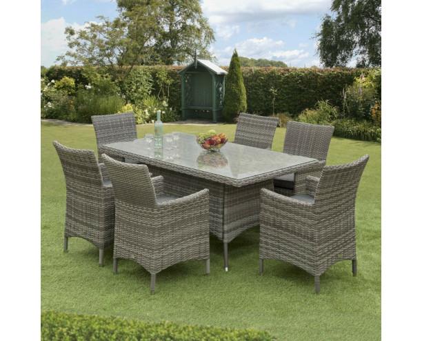 Sarasota Rattan Garden Dining Set - 6 Seater Rectangle Grey