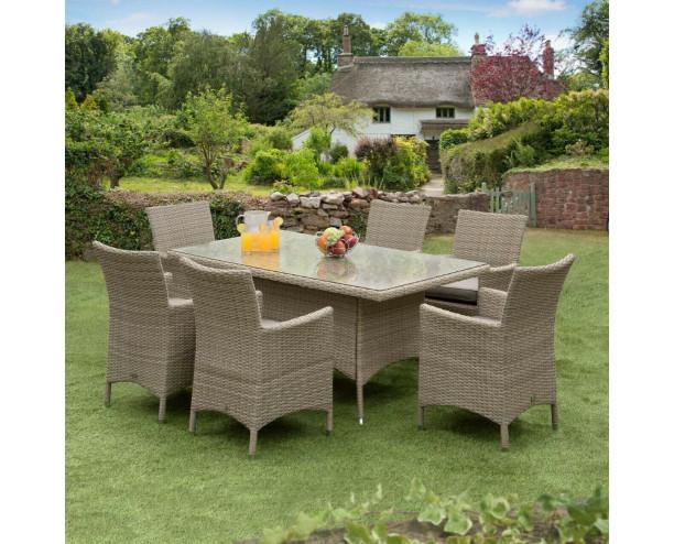 Sarasota Rattan Garden Dining Set - 6 Seater Rectangle Natural