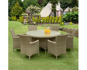 Sarasota Rattan Garden Dining Set - 6 Seater Round Natural