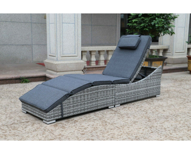 Sarasota Folding Sun lounger - Grey