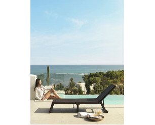 Folding Garden Dream Sun Lounger Reclining, Foldable, Adjustable w/Wheels, Resin