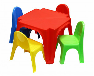 Childrens Table and Chair Set By Starplast Plastic Set