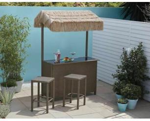 Tiki 3-Piece Bar Set w/Tropical Canopy Garden Furniture - Grey