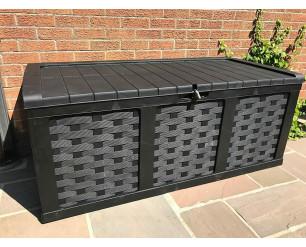 Plastic Garden Storage Box XXL Size 634 Litres Waterproof Sit On Lid Piston Lift Black