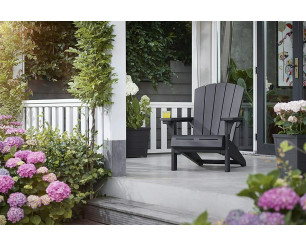 Keter Adirondack Chair Troy - Graphite. Outdoor Lawn Classic Seat.