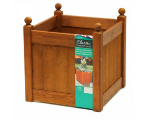 """AFK Classic Painted Garden Planter Heavy Duty Plastic Liner 18"""" Beech Stain"""