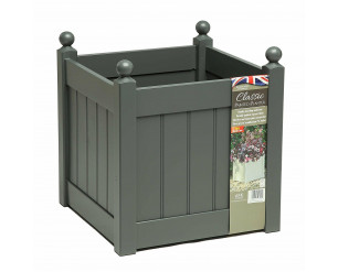 """AFK Classic Painted Garden Planter Heavy Duty Plastic Liner 18"""" Charcoal"""
