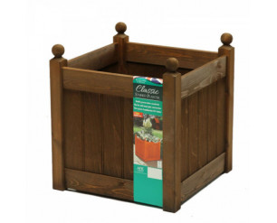 """AFK Classic Painted Garden Planter Heavy Duty Plastic Liner 18"""" Chestnut Stain"""