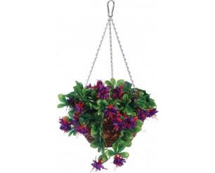 "Gardman 12"" Fuchsia Flower Hanging Basket Artificial Topiary"