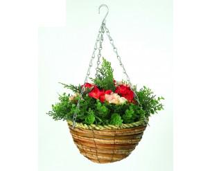 "Artificial Hanging Basket / Plants, UV Protected - Begonia 10"""