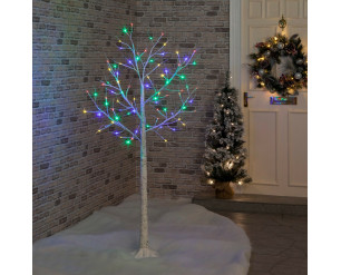 Christmas Birch Tree 1.2m with Multi-Coloured