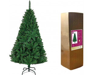 SHATCHI 10ft/3m Green Bushy Imperial Pine Artificial Deluxe Christmas Tree Hinged Branches