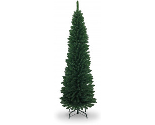 SHATCHI 4Ft-8Ft Artificial Flocked Slim Christmas Pencil Tree Holiday Home Decorations with Pointed tips and Metal Stand (Snow/Green/Black/White/Grey), 8ft