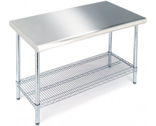 Seville Classics Commercial Stainless Steel Top Worktable, Chrome