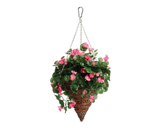 """Artificial Hanging Cone Basket / Plants, UV Protected - Begonia 12"""" Hanging Cone"""