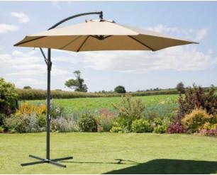 2.7M Garden Parasol Sun Shade Patio Hanging Umbrella Cantilever with Crank Taupe