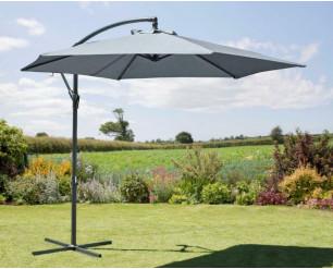 2.7M Garden Parasol Sun Shade Patio Hanging Umbrella Cantilever with Crank Grey