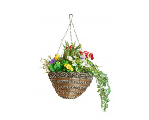 """Artificial Hanging Basket / Plants, UV Protected - Cupressus 12"""""""