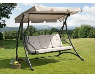 Florian 3 Seat Swing Hammock Heavy Duty Garden Bench Patio Charcoal & Light Grey