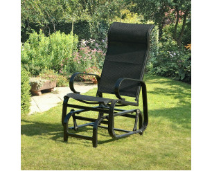 Suntime Havana Single Glider Seat Garden Rocking Chair Black