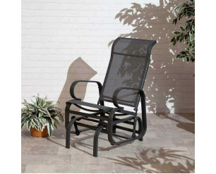Suntime Havana Single Glider Seat Garden Rocking Chair Charcoal