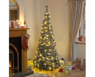 Holly Pop Up Indoor Pre Lit Tree w/Warm White LED's 150cm Flocked Holly
