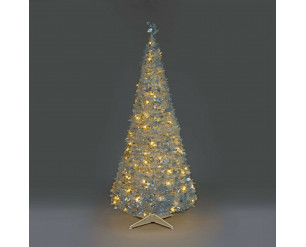 Holly Pop Up Indoor Pre Lit Tree w/Warm White LED's 120cm Silver Holly