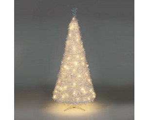 Holly Pop Up Indoor Pre Lit Tree w/Warm White LED's 120cm White Holly