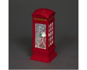 27cm Telephone Box w/Santa