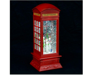 27cm Telephone Box w/Snowman