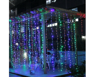 306 LED Curtain Fairy Lights Indoor/Outdoor Wedding Party Garden Decor Christmas Multi Coloured
