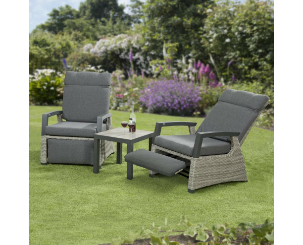Camilla Rattan Reclining Chairs Armchair Set with Side Table