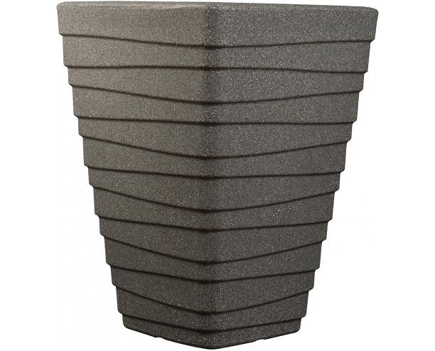 Strata Tall Square Trojan Planter - Granite